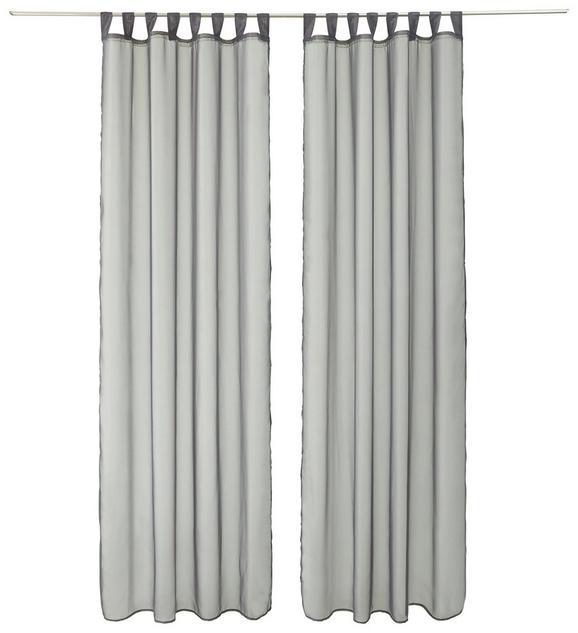 SCHLAUFENVORHANG Hanna, ca. 140x245cm - Anthrazit, Textil (140/245cm) - BASED