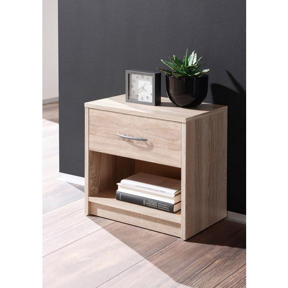 Nočna Omarica Pepe - aluminij/hrast sonoma, umetna masa/leseni material (39/41/28cm) - Mömax modern living