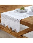 Tischdecke Jasmin ca.50x150 cm - Weiß, KONVENTIONELL, Textil (50/150cm) - Bessagi Home