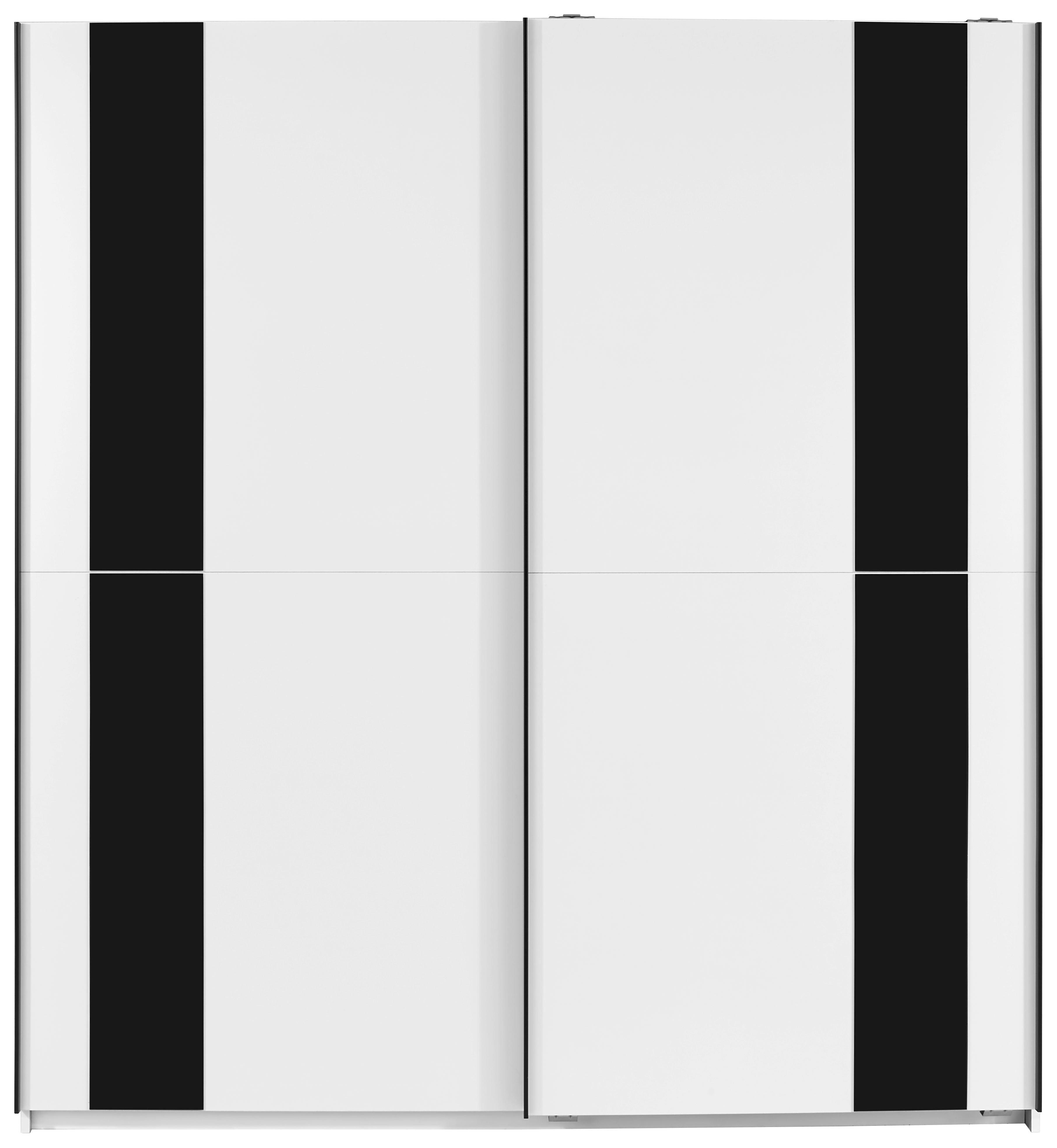 Tolóajtós Szekrény Kiel - fehér/szürke, modern, üveg/faanyagok (180/198/64cm)