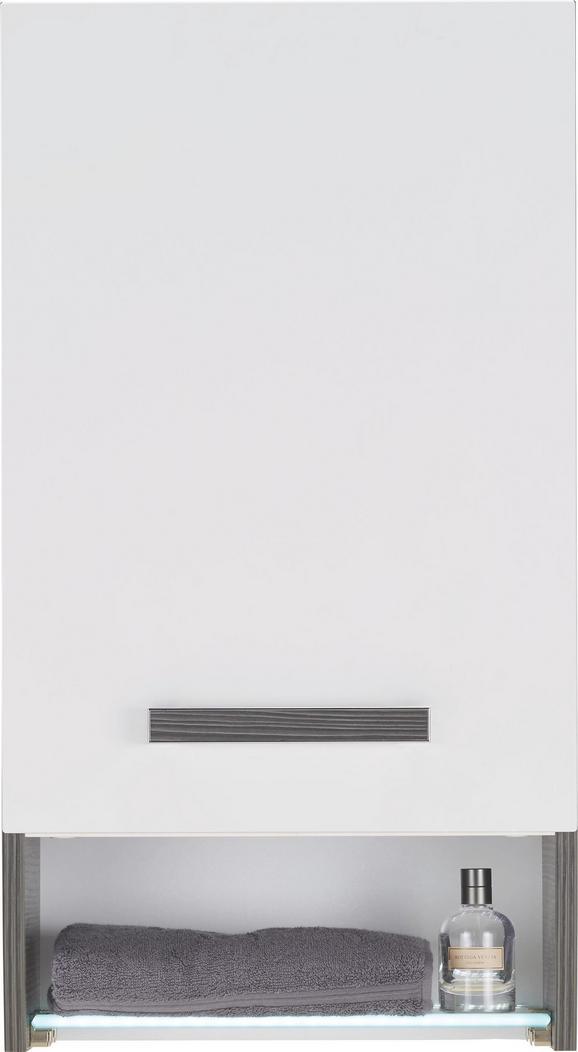 Oberschrank in Weiß/Anthrazit - Chromfarben/Mooreichefarben, MODERN, Glas/Holzwerkstoff (40/73/21,5cm) - PREMIUM LIVING