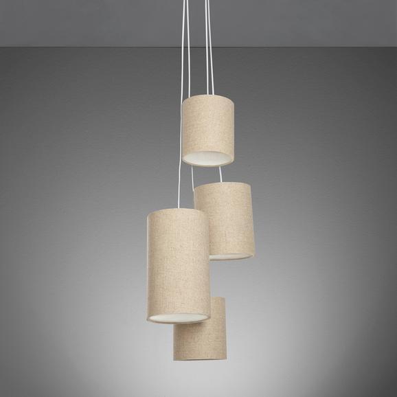 Pendelleuchte Candela 4-flammig - Beige/Naturfarben, MODERN, Textil/Metall (32/32/120cm) - Mömax modern living