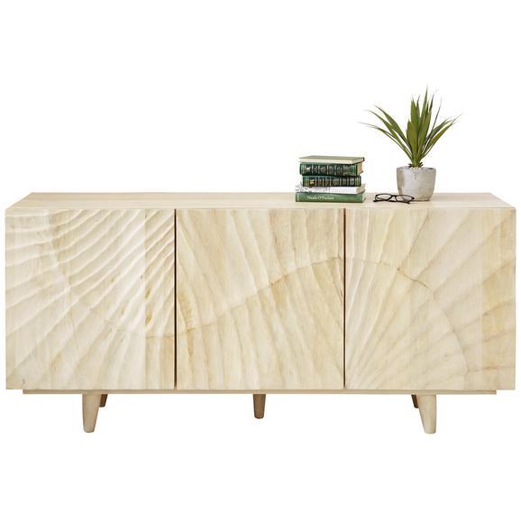 Sideboard aus Mango massiv - Schwarz/Naturfarben, ROMANTIK / LANDHAUS, Holz (160/45/35cm) - Zandiara