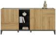 Sideboard Anthrazit/Eichefarben - Eichefarben/Anthrazit, Glas/Holzwerkstoff (180/84cm)