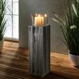 Windlicht Pia inkl. Glas H ca. 66cm - Klar/Kieferfarben, MODERN, Glas/Holz (18/18/66cm) - Bessagi Home