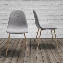 STUHL Antonia - Grau/Teakfarben, MODERN, Textil/Metall (44/86/54cm) - Mömax modern living