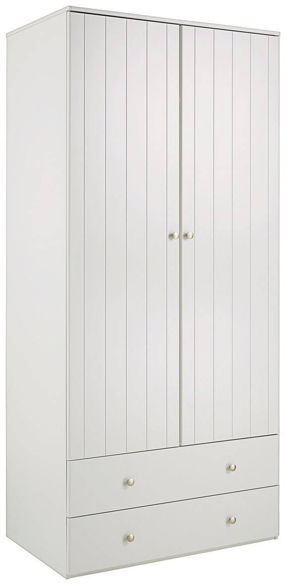 Kleiderschrank Weiß - Silberfarben/Weiß, ROMANTIK / LANDHAUS, Holzwerkstoff/Metall (100/220/63cm) - ZANDIARA