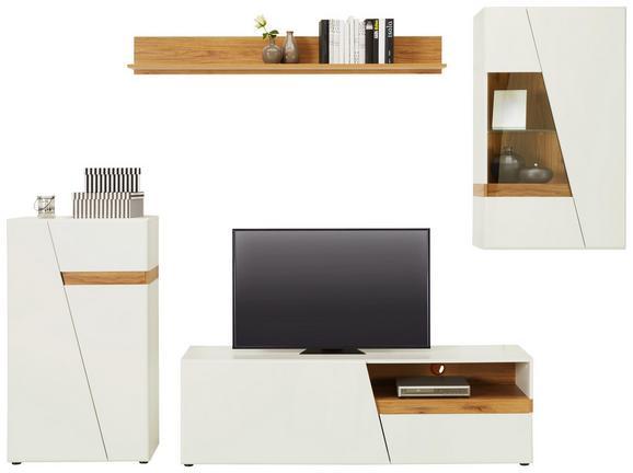 Wohnwand Weiß/Eichefarben - Eichefarben/Schwarz, MODERN, Glas/Holzwerkstoff (275/170/40cm) - Modern Living