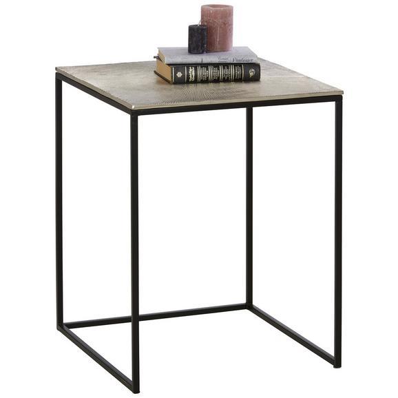 Beistelltisch aus Metall ca. 48x60x48cm - Schwarz/Nickelfarben, MODERN, Metall (48/60/48cm) - Premium Living