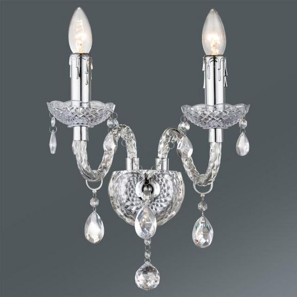 Stenska Svetilka Isabella - krom/prozorna, Romantika, kovina/umetna masa (36/33cm) - Mömax modern living