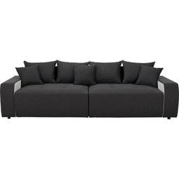 Bigsofa in Schwarz mit Kissen - Schwarz/Weiß, MODERN, Kunststoff/Textil (292/85/142cm) - Modern Living