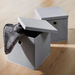 Aufbewahrungsbox Maik - 2er Set - Grau, MODERN, Textil (30/30/30cm) - Modern Living