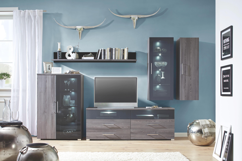 TV-Element In Lärchegrau - Chromfarben/Silberfarben, MODERN, Holzwerkstoff/Kunststoff (160/59/45cm) - PREMIUM LIVING