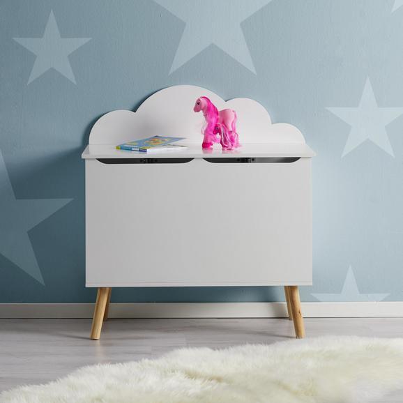 Kindersitzbank in Weiß mit Stauraum 'Lino' - Weiß/Kieferfarben, MODERN, Holz (74/79/40cm) - Bessagi Kids