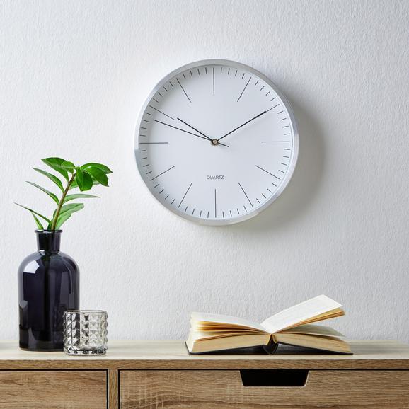 Wanduhr Rena ca.ø29,6cm - Silberfarben/Weiß, MODERN, Glas/Metall (29,6cm) - Mömax modern living