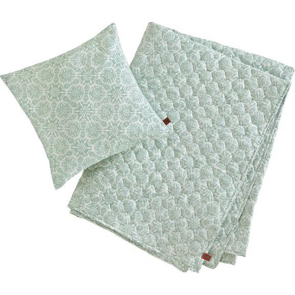 Decke + Kissen in Mint ca. 140x220 cm 'Aida' - Mintgrün, MODERN, Textil (140/220cm) - Bessagi Home
