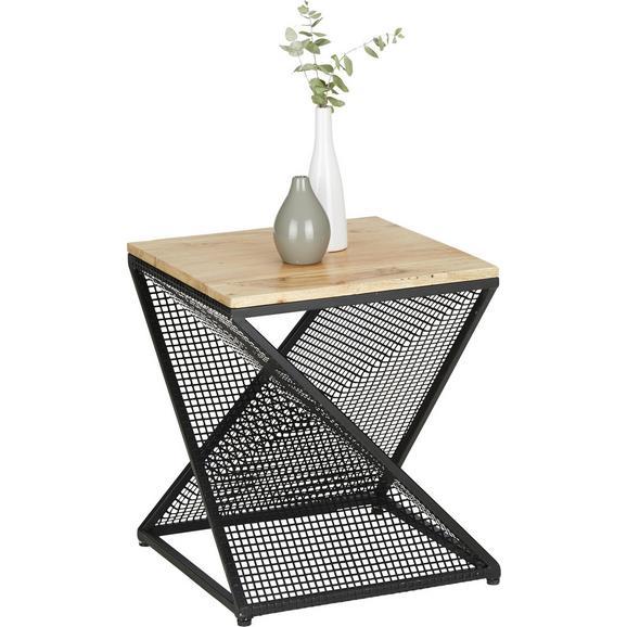 Beistelltisch aus Akazie Massiv - Schwarz/Akaziefarben, LIFESTYLE, Holz/Metall (40/45/40cm) - Modern Living