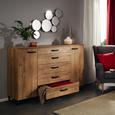 Kommode in Eichefarben - Eichefarben/Braun, ROMANTIK / LANDHAUS, Holzwerkstoff/Metall (139/92/41cm) - Premium Living