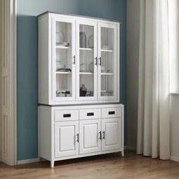 Buffet Liana - Weiß/Grau, MODERN, Glas/Holz (122/200,5/40cm) - Modern Living