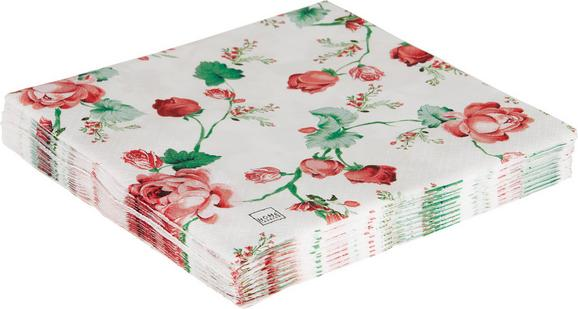 Serviete Roses - bela/zelena, papir (33/33cm)