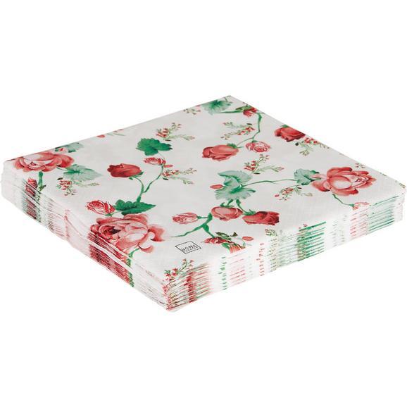 Serviette Roses in Bunt - Altrosa/Weiß, Papier (33/33cm)
