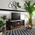 Lowboard in Naturfarben/Schwarz - Schwarz/Naturfarben, LIFESTYLE, Holzwerkstoff/Metall (145/55/45cm) - Premium Living