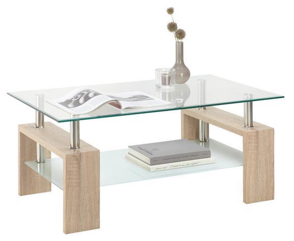 Dohányzóasztal Antonio - tölgy színű, modern, üveg/fa (100/45/60cm)