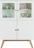 Highboard Natur/Weiß - Naturfarben/Weiß, MODERN, Glas/Holz (100 145 45cm) - Zandiara