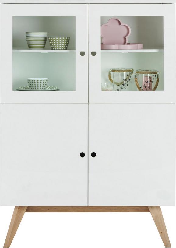 Highboard Weiß/Naturfarben - Naturfarben/Weiß, MODERN, Glas/Holz (100/145/45cm) - Zandiara