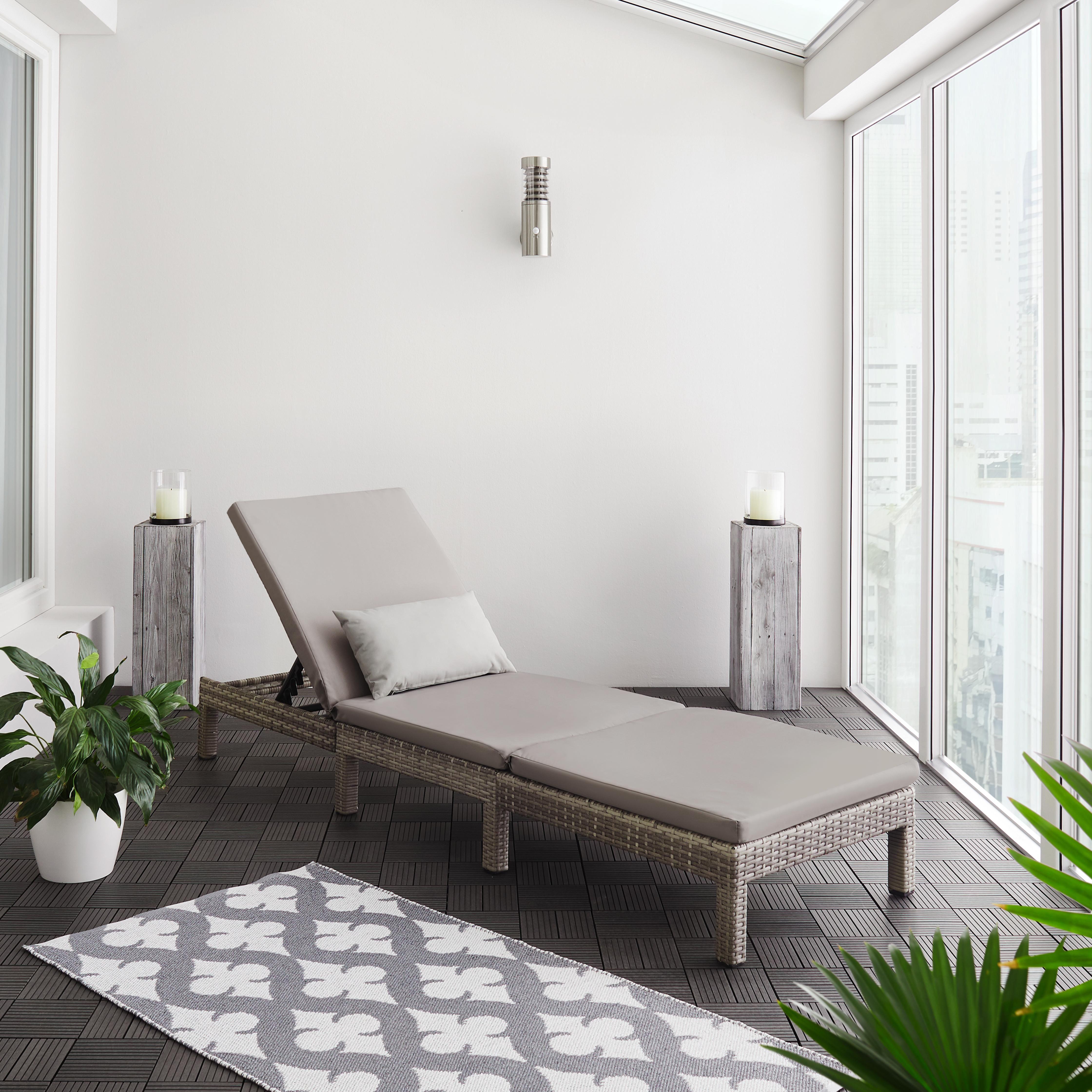 Gartenliege Sarah inkl. Auflage - Hellgrau/Grau, MODERN, Kunststoff/Textil (60/28/198cm) - Modern Living
