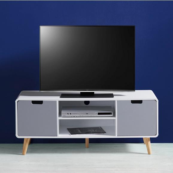 TV-Möbel Daniela - Weiß/Grau, MODERN, Holz (120/48/40cm) - Bessagi Home