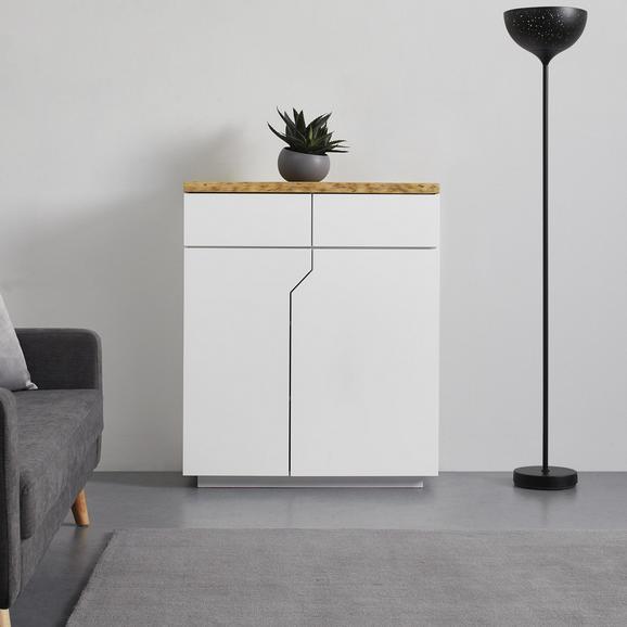 KOMMODE in weiß 'Carlos' - Eichefarben/Weiß, MODERN, Holz (90/108/42cm) - Bessagi Home
