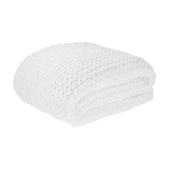 Kuscheldecke Emily in Weiß ca. 110x160cm - Weiß, ROMANTIK / LANDHAUS, Textil (110/160cm) - Premium Living