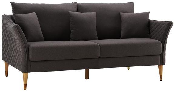 Sofa Valeria Dreisitzer inkl. Rückenkissen & Kissen - Dunkelgrau, MODERN, Holz/Textil (192/75/93cm) - Modern Living