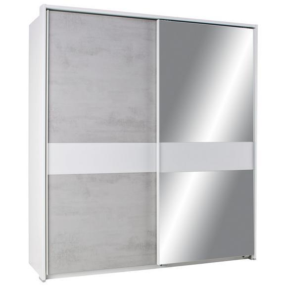 Schwebetürenschrank Beton/Weiß-spiegel ohne Ppt online kaufen ➤ mömax
