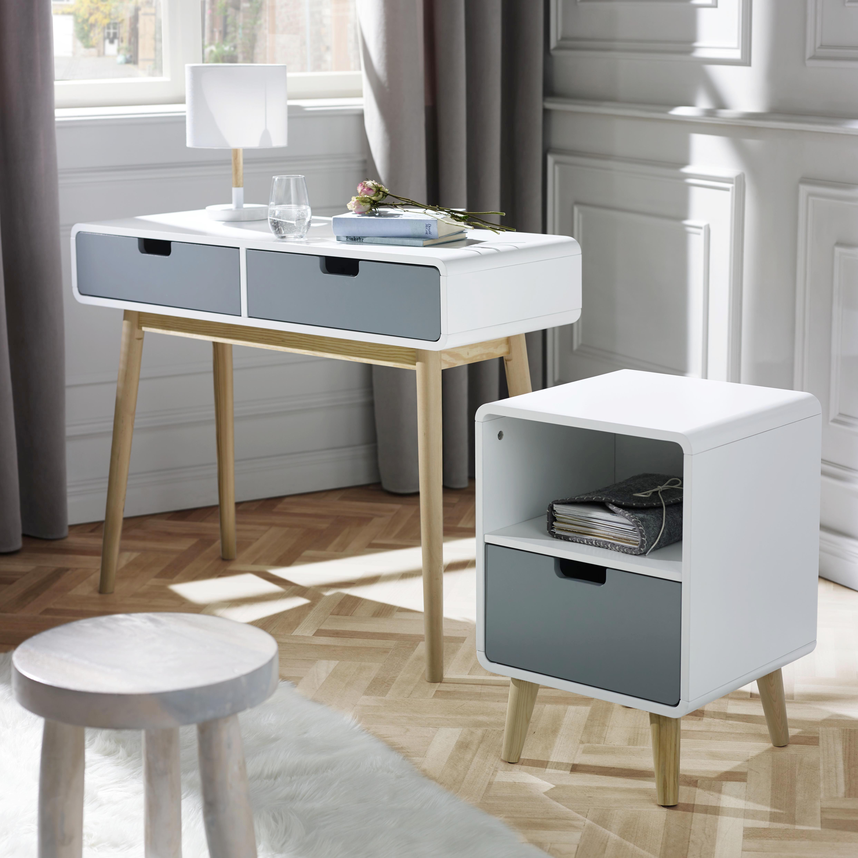 Konsolentisch Daniela 100x38cm - Weiß/Grau, Holz (100/76/38cm) - MODERN LIVING