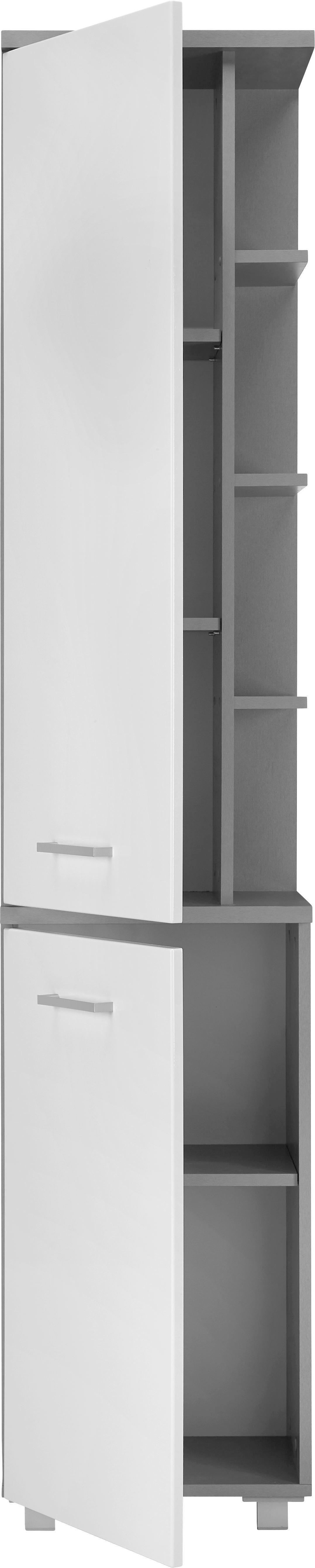 Hochschrank in Grau/Weiß - Silberfarben/Weiß, MODERN, Holzwerkstoff/Kunststoff (40/194/32cm) - MÖMAX modern living