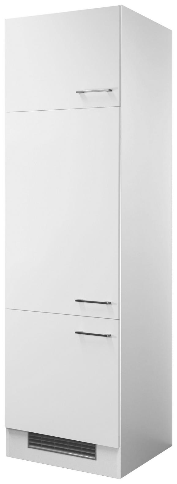 Geräteumbauschrank Weiß - Edelstahlfarben/Weiß, MODERN, Holzwerkstoff/Metall (60/200/57cm)