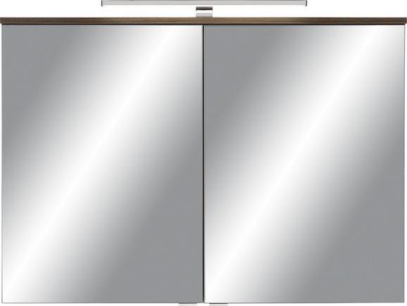Spiegelschrank Walnussfarben - Silberfarben/Walnussfarben, MODERN, Glas/Holzwerkstoff (100/68/16cm) - PREMIUM LIVING