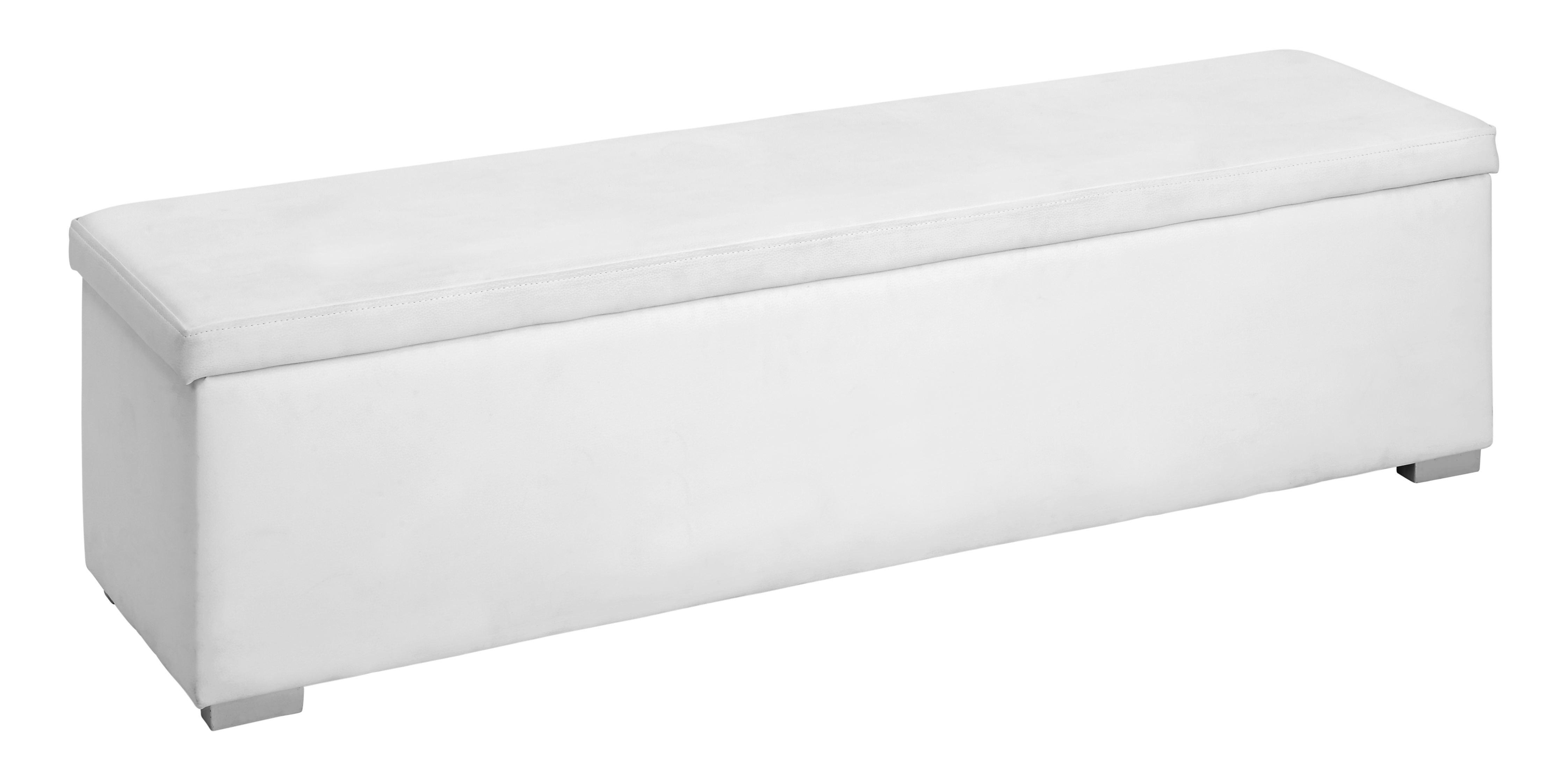 Truhenbank in Weiß, Aufklappbar - Silberfarben/Weiß, Holz/Holzwerkstoff (152/40/39cm) - MODERN LIVING