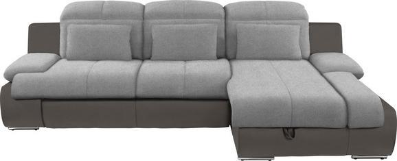 Kutna Garnitura L-oblika Multi 260x184 Cm - siva/tamno siva, Modern, tekstil/metal (260/184cm)
