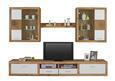 Wohnwand Weiß/Eichefarben - Eichefarben/Silberfarben, MODERN, Glas/Holz (290/195/45cm) - Modern Living