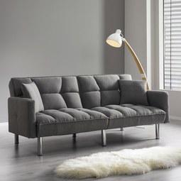 Sofa mit Schlaffunktion in Hellgrau 'Jara' - Chromfarben/Hellgrau, MODERN, Holz/Textil (195/82/87cm) - Bessagi Home