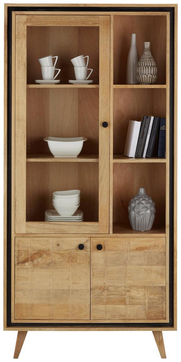 Vitrine Braun - Transparent/Schwarz, LIFESTYLE, Glas/Holz (88/180/35cm) - Zandiara
