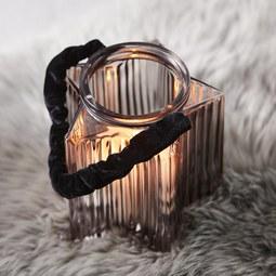 Windlicht in Hellgrau Ø/H ca. 14/16 cm 'Malin' - Hellgrau, MODERN, Glas (14cm) - Bessagi Home