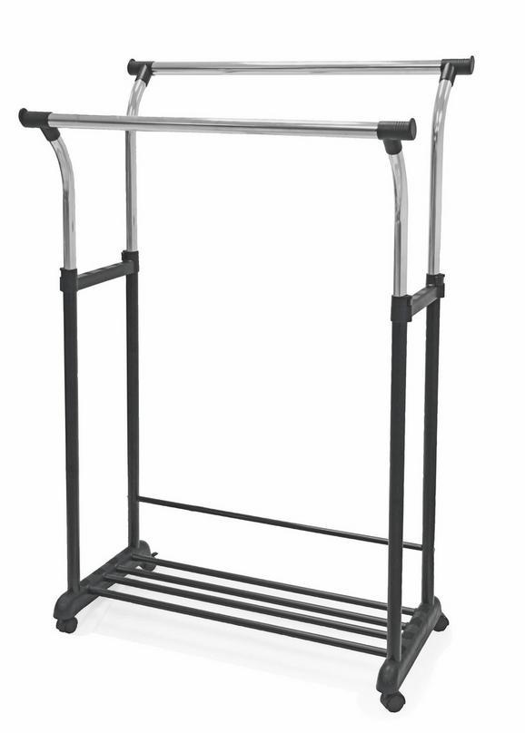 Ruhaállvány Swing - Króm/Fekete, modern, Műanyag/Fém (90/111-170/52,5cm)