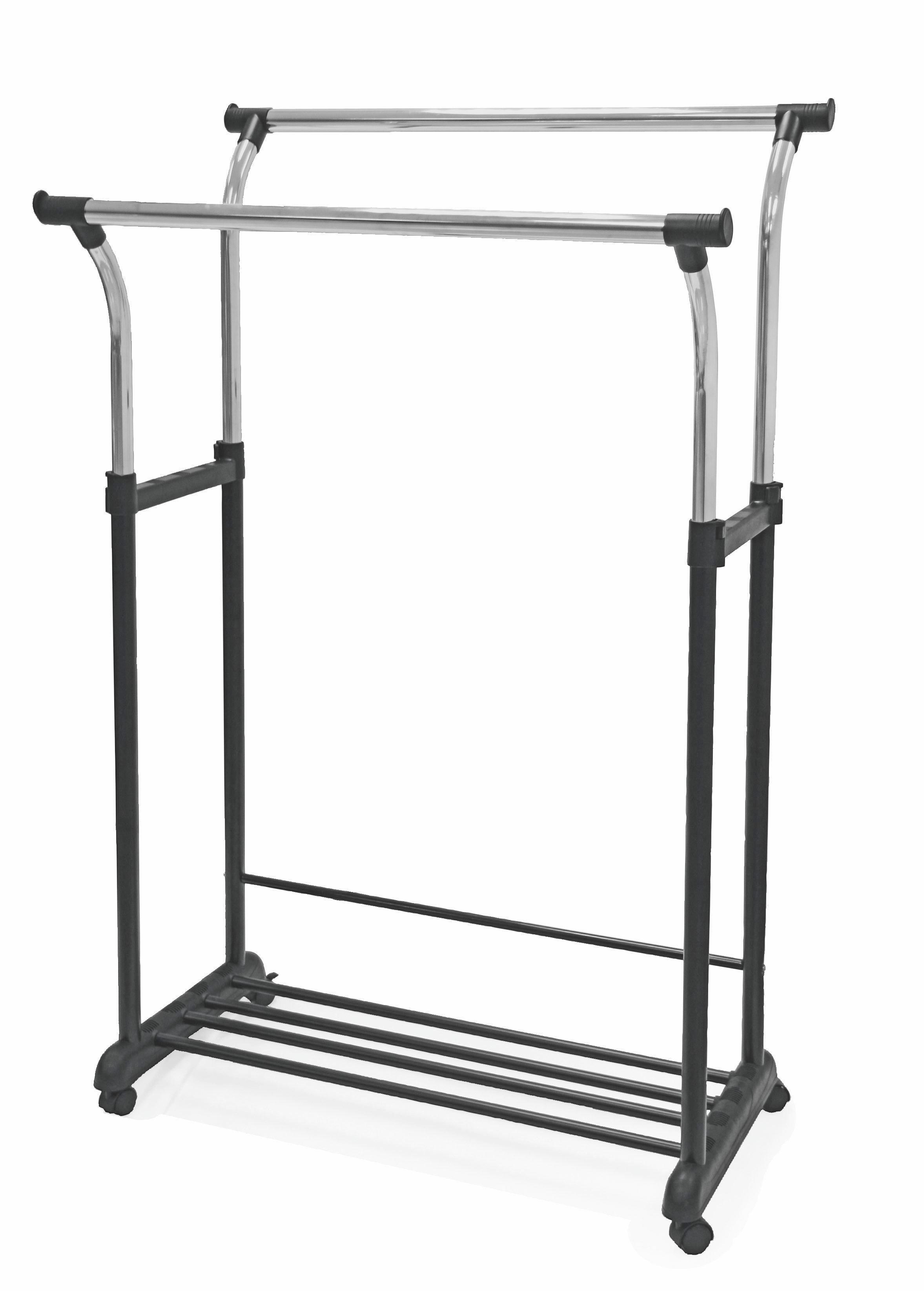 Ruhaállvány Swing - krómszínű/fekete, modern, műanyag/fém (90/111-170/52,5cm)