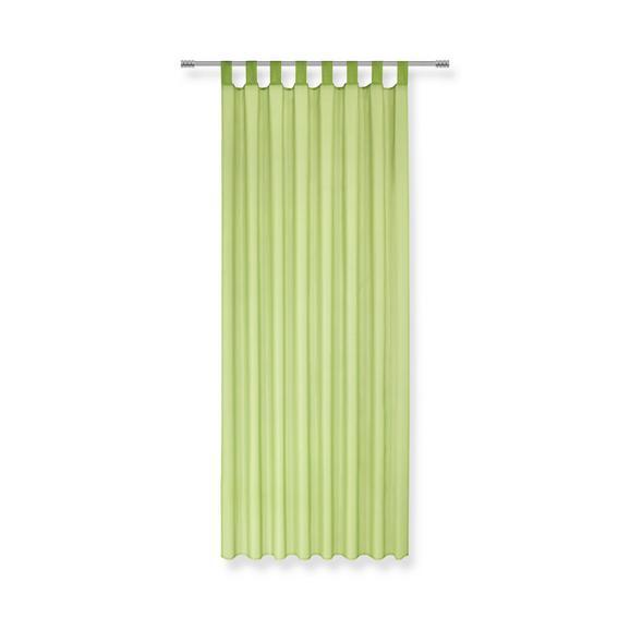 Zavesa Z Zankami Hanna - zelena, tekstil (140/245cm) - Based