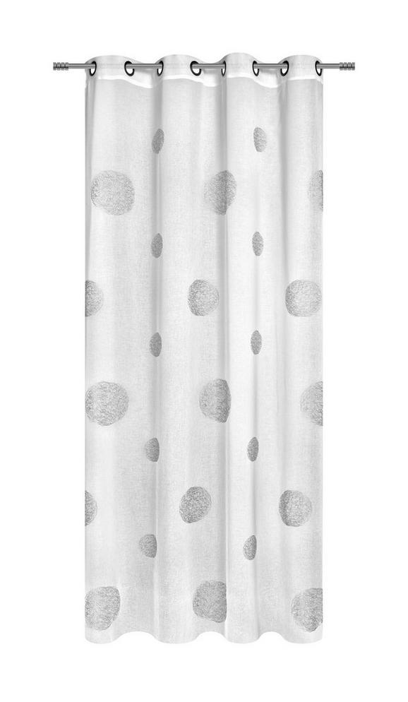 Zavesa Z Obročki Circle - bela, Moderno, tekstil (140/245/cm) - Premium Living