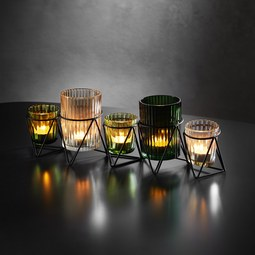 Teelichthalter in Multicolor ca. 36/11,8cm 'Janin' - Klar/Multicolor, MODERN, Glas/Metall (36/8/11,8cm) - Bessagi Home